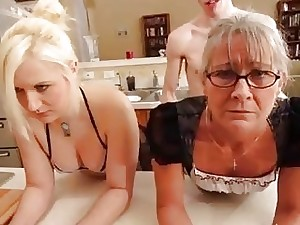Training the mother and his bitch to obey during roleplay