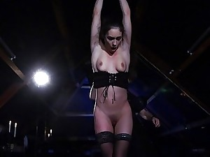 Arwen Gold BDSM session with sex toys and leather
