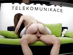 Nasty bi-atch rides her bosses firm trunk