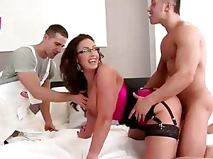 Super-steamy housewife getting boned rigid by 2 employees
