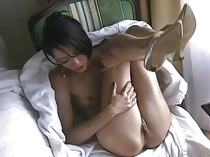 Puny French Chick massaging oily in window