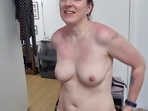 Mom gets naked in front of stepson and gets in small sundress