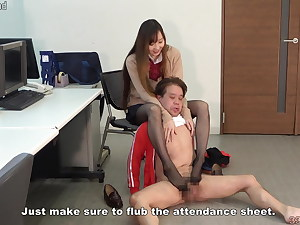 Japanese student giving a foot wank to a schoolteacher