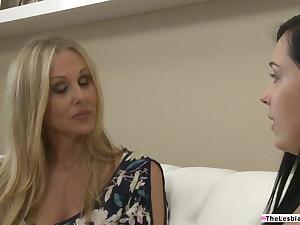 A brunette lesbian fingering her meaty knockers blonde milf boss