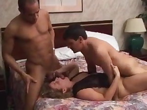 Wife telling spouse and friend about gangbang while fucked