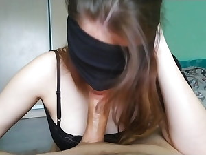 Fellatio with sound and jizz on tongue