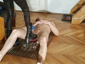 Fabulous domme does Cock and ball torture ball & cock stomping in huge boots pt1