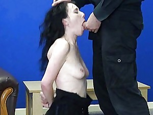 Avant-garde censorious blowjob coupled with provoking for bdsm floozy